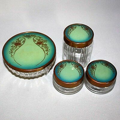 4 Antique Vtg VANITY DRESSER GLASS JARS w/ PAINTED METAL LIDS w/ DECORATED COVER