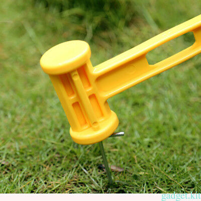 Yellow Hammer Peg Puller Remover Tool Camping Tent Outdoor Peg Plastic Mallet