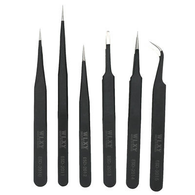 New 6 x Pieces Hobby Tweezer Set Long Durable Stainless Steel Black Tool Kit