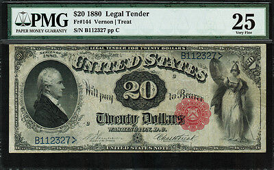 1880 $20 Legal Tender FR-144 - ULTRA RARE - Only 68 Known - PMG 25 - Comment