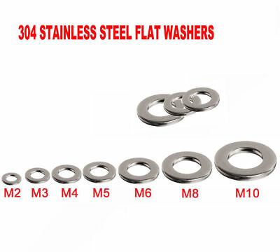 A2 304 Stainless Steel Flat Washers To Fit Metric Bolts & Screws M1.6 - M30