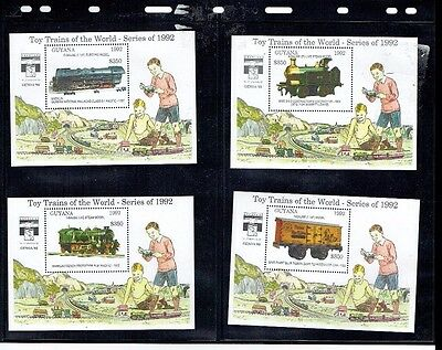 Stamps Guyana Toy Trains 1992 mini sheets x 4