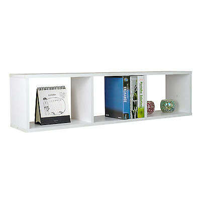 White Floating Bookcase 3 Cubes Wall Mounted Display Shelf for CD Book Storage