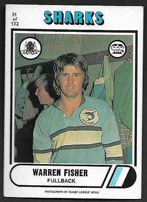 1976 Scanlens Rugby League Trading Cards-51 WARREN FISHER CRONULLA