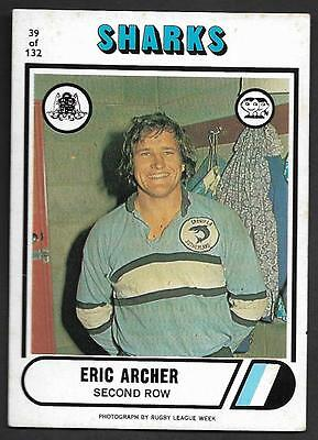 1976 Scanlens Rugby League Trading Cards-39 ERIC ARCHER CRONULLA