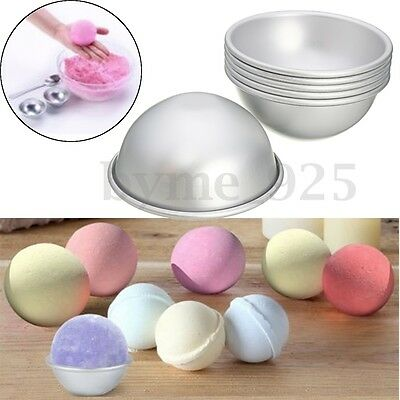 6pcs(3 Kits) 65mm Aluminum Silver Round Bath Bomb Molds Tools For Fizzy Sphere