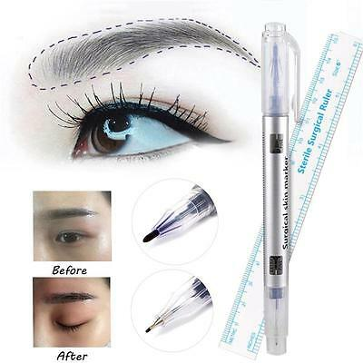 2in1 Microblading Tattoo Eyebrow Skin Marker Pen + Permanent Measure Ruler Kit