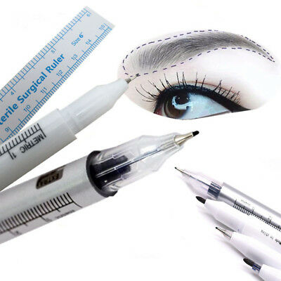 Waterproof 2Pcs Microblading Tattoo Eyebrow Skin Marker Pen And Measure Ruler