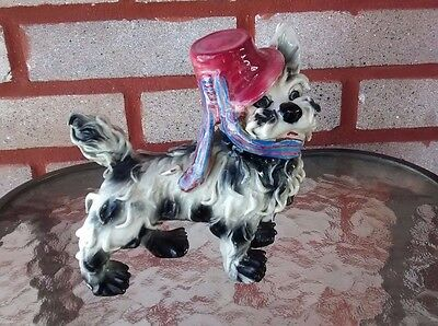 Vintage Italian Black and White Spaghetti Dog Figurine 6.5'' x 6'' x 3''