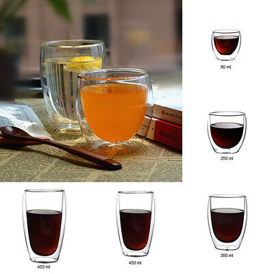 Creative Heat Resistant Clear Glass Double Wall Coffee Cup Tea Milk Mugs 1pc
