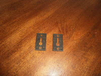 Pair of Antique Ornate Victorian Small Brass Escutcheons