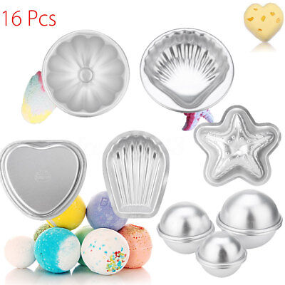 16PCS 8 Set Aluminium Bath Bomb Fizzy Crafting DIY Mold Cake Candle Mould Tool