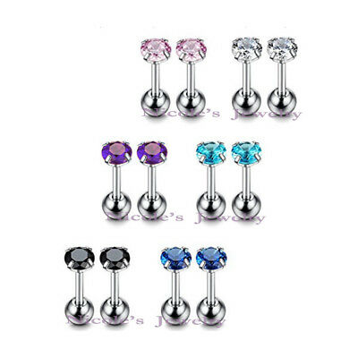 316L Surgical Steel Round CZ Prong  Tragus Cartilage Earring Piercing Stud 1pc