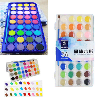 AU 36 Color Fundamental Watercolor Solid Non-Toxic Artist Cake Kit 1 Paint Brush
