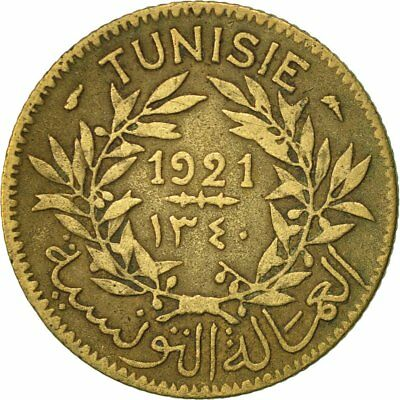[#417476] Tunisia, Anonymous, Franc, 1921, Paris, EF(40-45), Aluminum-Bronze