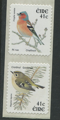 IRELAND birds 2 stamps self adhesive from coil 41c Goldcrest & Chaffinch EIRE