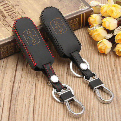 2 Colors Leather Remote Car Key Case Holder Cover Skin For Mazda 2 3 6 CX-5 CX-7