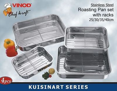 Stainless Steel Roasting Trays Oven Pan Dish Baking Roaster Tray Grill Rack