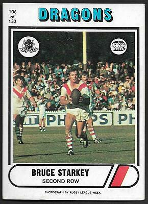 1976 Scanlens Rugby League Trading Cards-106 BRUCE STARKEY SAINT GEORGE