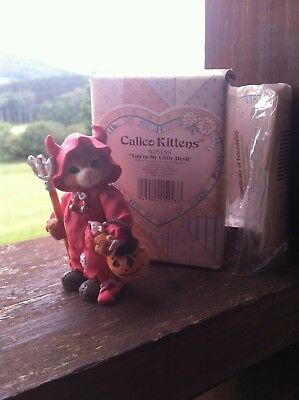 """Enesco Calico Kittens """"You're My Little Devil"""" New In Box No 625159"""