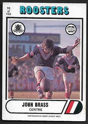 1976 Scanlens Rugby League Trading Cards-93 JOHN BRASS EASTERN SUBURBS