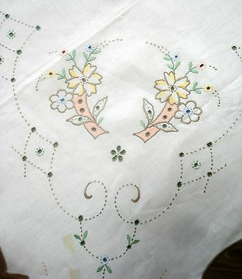 Vintage Madeira Hand Embroidered Cutwork Coloured White Linen Tablecloth For Tlc