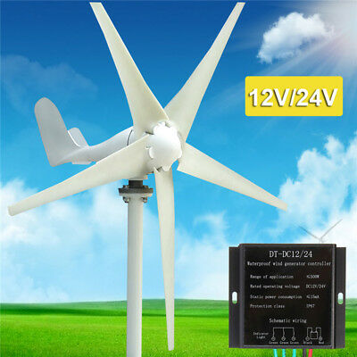 12/24V 500W 5 Blades Horizontal Residential Wind Turbine Generator + Controller