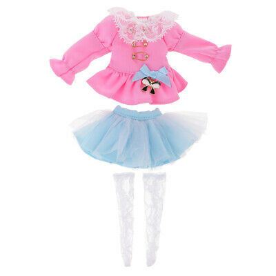 Pink Clothes Blue Skirt Stockings Socks Outfits for Blythe Pullip Azone Doll