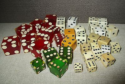Vintage Casino Home Board Game DICE-9 Red-4 Green-21 White-2 Mustard-Toy Pieces