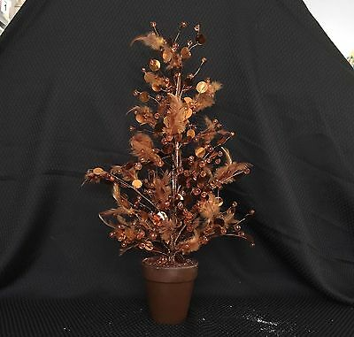 Copper Colour Tree Table Decoration w/ feathers and sparkles, Wedding decoration