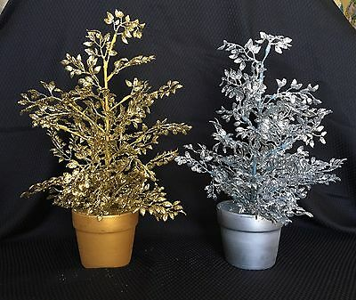 2 x Gold or Silver Glitter Tree Table Decoration, Wedding decoration, Christmas