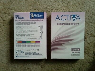 2 pair of Activa compression stockings, class 1, male or female  black large.