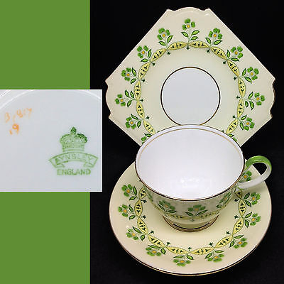 Aynsley 1920s B1817 Green Flowers Square English Vintage Bone China Trio Set