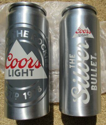 2 Coors Light Beer Can Cup Mug Heavy Aluminum Brand New Pair 16 oz Silver Bullet