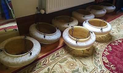Vintage Art Deco House Lot X8 Mottled Glass Ceiling Chain Light Shade House