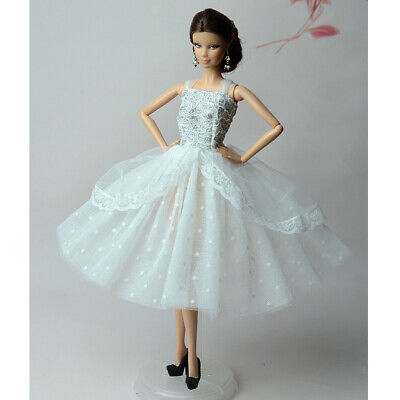 Handmade White Dots Wedding Dress Party Gown Clothes Outfit For Barbie Doll