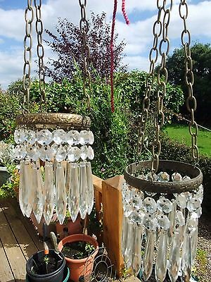 ANTIQUE CRYSTAL ICICLE WALL or CEILING LIGHTS - Pair