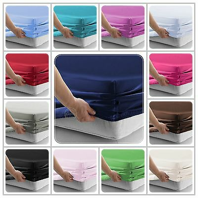 Plain Dyed Extra Deep Fitted Bed Sheets With Elastic Single Double King Size