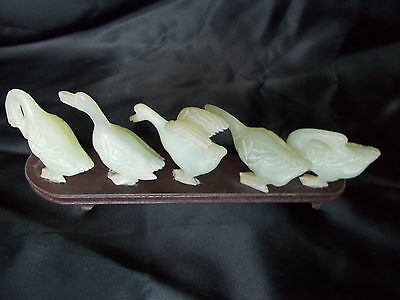 Chinese Jade Carved Five Geese with Wooden Stand