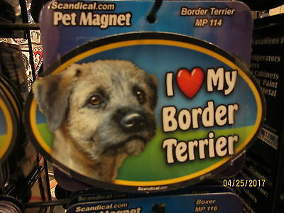 I Love My Border Terrier 6 inch oval magnet for car or anything metal  New