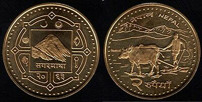 NEPAL Mt Everest  2 Rupee Coin UNCIRCULATED  REVERSE: pair of oxen plowing