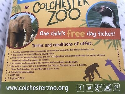 Colchester Zoo Voucher Free Child With Paying Adult X 1 (3 Available)
