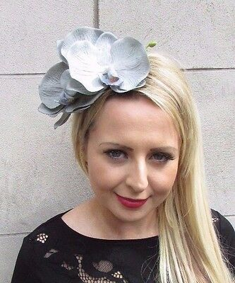 Large Dove Grey Orchid Flower Fascinator Headpiece Headband Races Wedding 3651