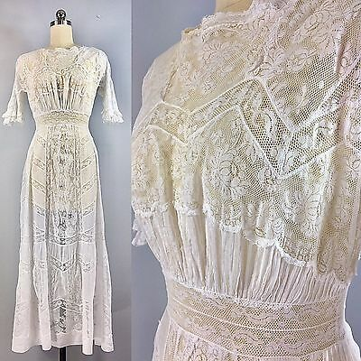 Antique Edwardian Batiste White Lace Lawn Dress Gown Embroidered Lace Panels XS