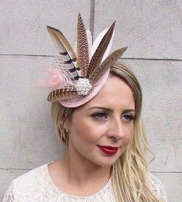 Blush Light Pink Cream Pheasant Feather Fascinator Races Wedding Hat Hair 3656