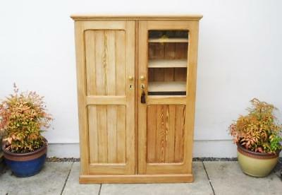 Large early 20th c  pine storage, hall cupboard,  fixed  shelves - refurbished