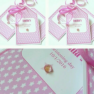 5 X pink or blue crystal baby christening gift tags labels personalised free
