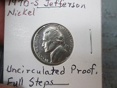 1970-S Jefferson Nickel. Uncirculated Proof Coin w/Full Steps