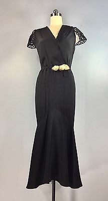 Vintage 1930s Black flutter sleeve Dress Gown Mermaid Fish Tail 40 bust