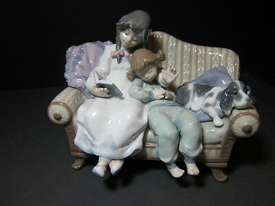 Lladro Figurine # 5735 Big Sister Retired Mint Rare Sisters & Dog On Couch